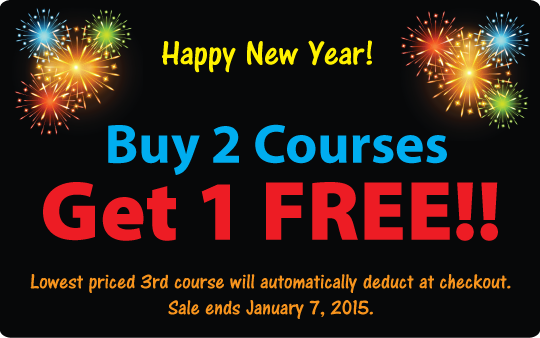 Buy 2 Courses, Get 1 FREE New Year CE Sale!