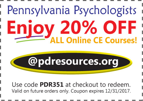 PA Psychologists Save 20% on CE