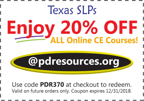 Texas SLPs Save 20% on CEUs