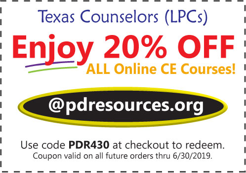 Texas LPCs can now earn all 24 hours per renewal through online courses offered @pdresources.org. Over 100 online courses to choose from! Order now and enjoy 20% off all courses: