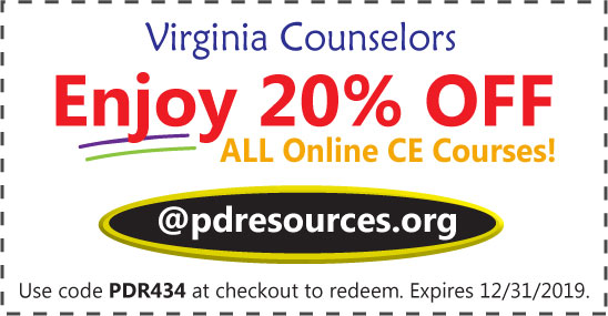 Virginia counselors can save 20% on all online continuing education (CE) courses for the June 30th license renewal @pdresources.org.