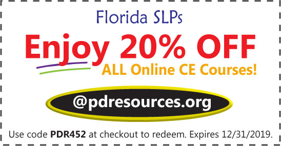 Florida SLPs can save 20% on CEUs for the upcoming December 31st license renewal deadline @pdresources.org