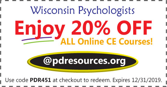 Wisconsin psychologists save 20% on CE @pdresources.org
