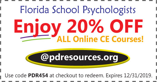 Florida-Licensed School Psychologists can earn all 30 hours for renewal through online CE courses @pdresources.org. Order now and enjoy 20% off all courses!