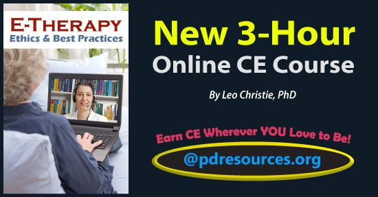 E-Therapy: Ethics & Best Practices is a 3-hour online continuing education (CE) course that examines the advantages, risks, technical issues, legalities, and ethics of providing therapy online.