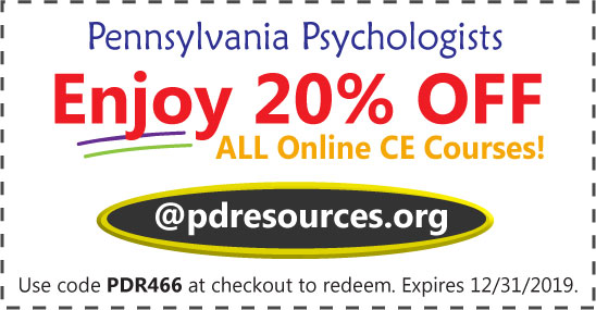Pennsylvania psychologists save 20% on CE @pdresources.org for their 11/30/2019 license renewal
